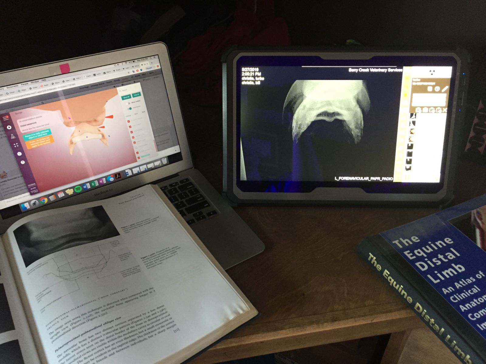 Laptop with radiographs beside a textbook.